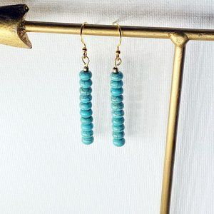 Turquoise Rondelle Minimalist Gold Tone Earrings
